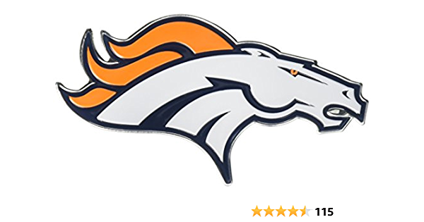 Denver City Bronco Football Logo Die-Cut Decal Sticker 5 Longer Side Set of 4 Pieces