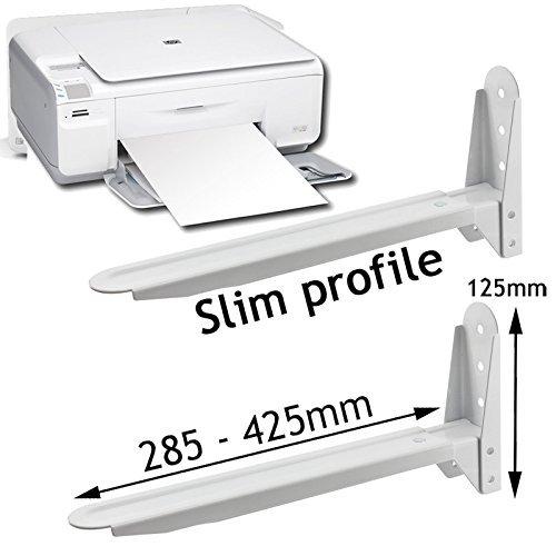 SPARES2GO Universal Adjustable PC Desktop Printer Laptop Scanner Holder Brackets (White)