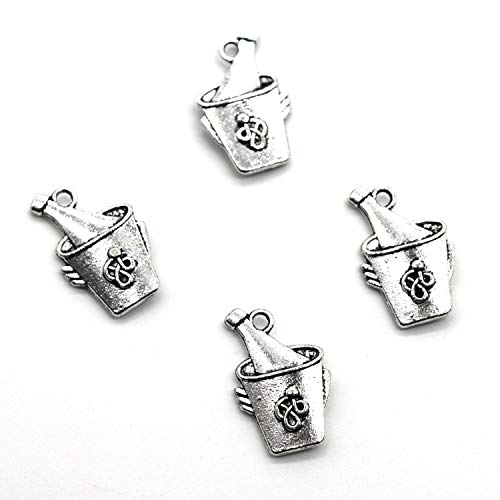 , Silver Tone Handmade Supply Charms, Handmade Craft, Handmade Jewelry Supply (40PCS CC215 Ice Bucket Charms) ()