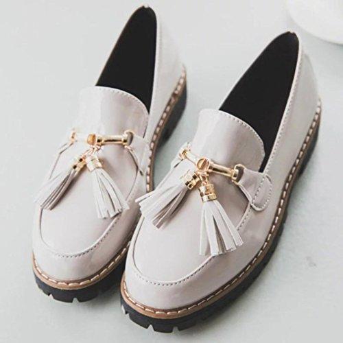 Binmer (tm) Femmes Preppy Style Gland En Cuir Verni Chaussures Femme Chaussures De Sport Blanc