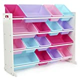 Tot Tutors WO574 Forever Collection Wood Toy Storage Organizer, X-Large, White/Pink&Purple