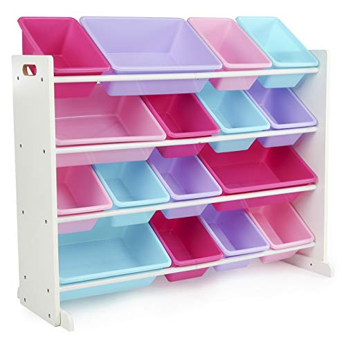 Tot Tutors Forever Collection Wood Toy Storage Organizer, X-Large, White/Blue/Pink/Purple