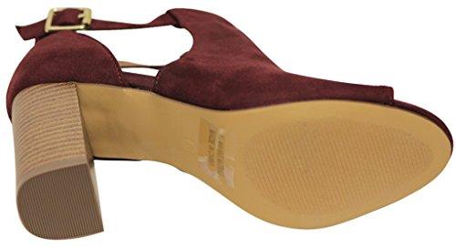 Bonnibel Cato-1 Donna Peep Toe Dorsay Cinturino Alla Caviglia Tacco Grosso In Camoscio Scarpe Décolleté Bordeaux