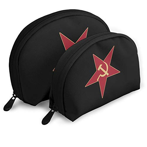 Gol Saly Red Star with Hammer Sickle Funny Choirfun Pack of 2 Portable Travel Makeup Cosmetic Bags Organizer Multifunction Clutch Pouch Case Kit Toiletry Bags for Women