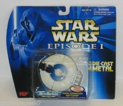 - Star Wars - Episode 1 - Micro Machines - Trade Federation Battleship - #4 - Die Cast Metal - Galoob - Limited Edition - Collectible