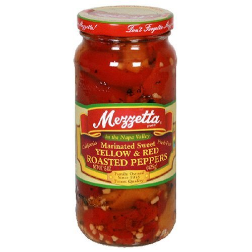 Mezzetta Roasted Yellow & Red Peppers, 15-Ounce Jars (Pack of 6) by Mezzetta