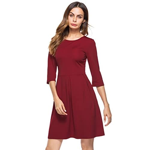 Nice Berydress Women's 3/4 Sleeve O-Neck Wear To Work Casual Cocktail Party Dress With Pockets