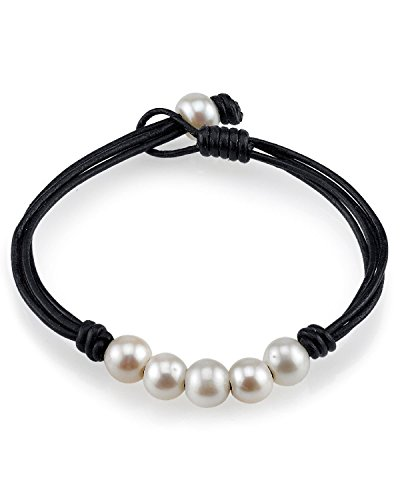 THE PEARL SOURCE 8-9mm Genuine Freshwater Cultured Pearl Leather Belle Bracelet for Women