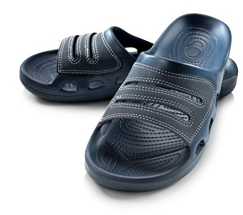 Roxoni Slide Sandals for Men | Open Toe Slip-On | Waterproof Rubber for Beach, Pool, Gym, Travel Wear Blue from Roxoni