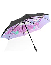 OREZI Pastel Goth Unicorn Automatic Windproof Waterproof Umbrella, Portable Travel Umbrella,Folding Umbrella with Reinforced Windproof Frame,Compact Umbrella for Women Men