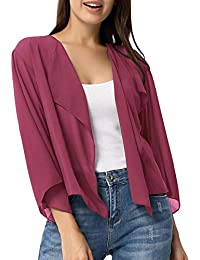 2fde017ee58 Women Cardigans 3 4 Sleeve Sheer Shrug Cropped Bolero Cardigan KK913