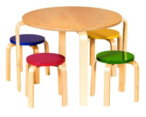 Guidecraft Nordic Table & Chairs Set Primary Colors