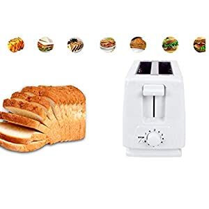 TOX 2/4 Piece Automatic Toaster Large Capacity Toaster, Home Breakfast Machine Toaster Quick Toasting& Heating, 6 Settings,Space Saving Design, Warming Rack, 4 Slice, Stainless Steel & White (White)
