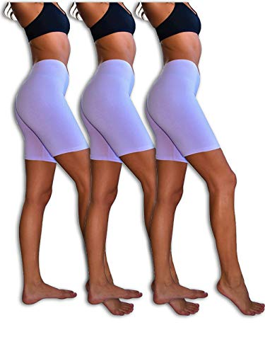 - Sexy Basics Womens 3 Pack Sheer & Sexy Cotton Spandex Boyshort Yoga Bike Shorts (Medium -6, 3 Pack- Orchid)