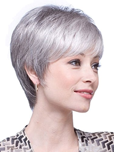 Gray Hair Wigs (Sunvy Short Hair Wigs Synthetic Short Bob Wigs Full Wig for White Women Silver Gray Color Wigs Straight hair Cosplay Wig)