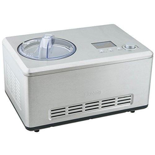 H.Koenig Eismaschine HF320, mit selbstkühlendem Kompressor, 2L, komplettes Edelstahlgehäuse