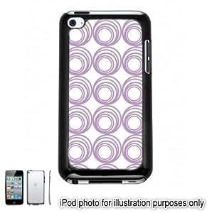 Purple Lavender Circle Swirls Pattern Apple iPod 4 Touch Hard Case Cover Shell Black 4th Generation