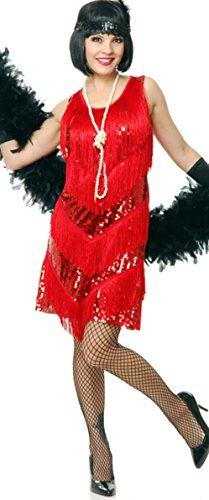 Party City Girl Costume Santa (Charades Womens Costume Four Tier Flapper Dress Red)
