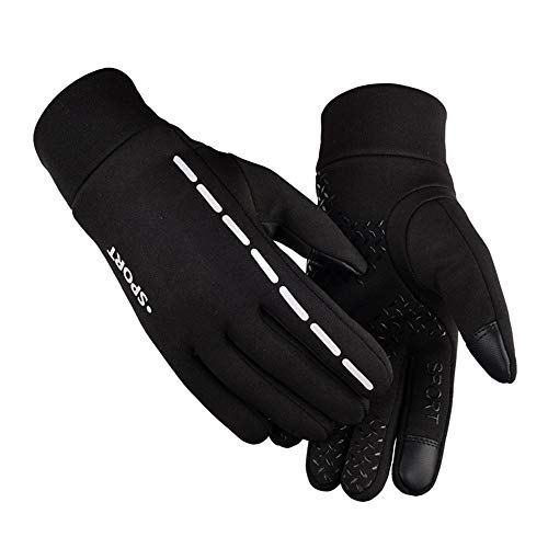 Gloves,Longay Men Winter Screen Thicken Riding Windproof Waterproof Warm Leather Glove (M, Black)