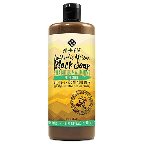 Alaffia, Authentic African Black Soap Liquid, All-in-One Body Wash for All Skin Types, Peppermint, Ethically Traded, Non-GMO, 32 oz (FFP) ()