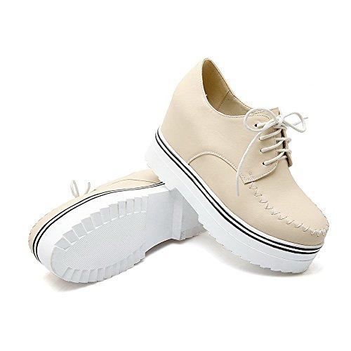 AmoonyFashion Womens Lace-up PU Round Closed Toe High-Heels Solid Pumps-Shoes Beige I5SDTqz0