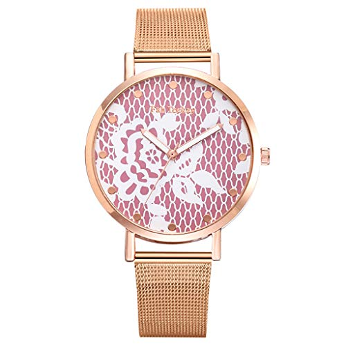 Women's Rose Gold Watch Floral Dial Analog Quartz Stainless Steel Mesh Magnetic Buckle Band (Red) ()