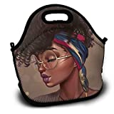 Rofeiso Stylish American Africa Black Women Lunch Bag Tote Soft Lunch Box Reusable Insulated Handbag for Men,Women,Kids
