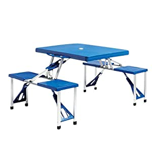 Portable Folding Plastic Kids Picnic Table & Chair Set - Indoor Outdoor Activity Table