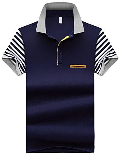 ポロシャツ メンズ 半袖 カジュアル ボーダー polo お洒落なポロシャツ スポーツウェア ゴルフウェア シンプル 無地 スキニー ファッション カッコイイ 快適 吸汗グラストア(Glestore)