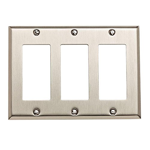 Baldwin 4740.150.CD Classic Square Beveled Edge Triple GFCI Switch Plate, Satin Nickel