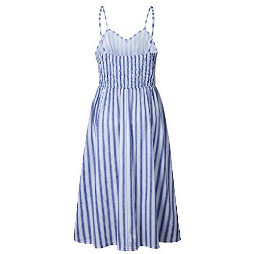 tirantesraya Party Barras Providethebest Vestido Botón impresión Beach S la del de Bolsillos Vestido Las de Mujeres Verano poliéster Correa de de del Azul aqgTrapHc