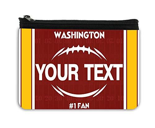 BRGiftShop Personalized Custom Name Football Team Washington Neoprene Coin Purse
