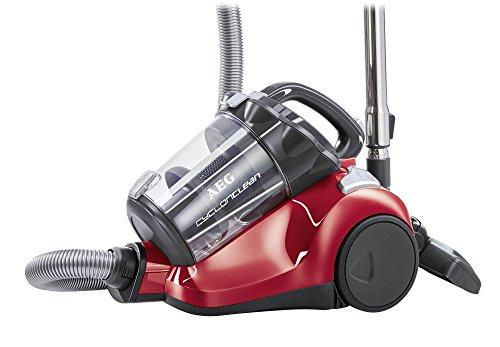 AEG CyclonClean ACC5130 Staubsauger ohne Beutel EEK B (800 Watt, inkl. Turbo- und Hartbodendüse, Hygiene Filter, beutellos) rot