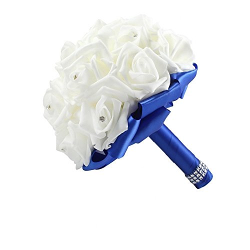 Artificial Flower Pearl Crystal Silk Roses Bridesmaid Bridal Holding Wedding Bouquet, Royal Blue