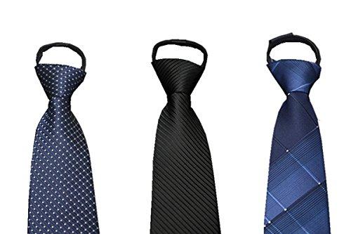 Sorrica Mens Comfortable Zipper Various Patterned Necktie Tie Package Set 3PT