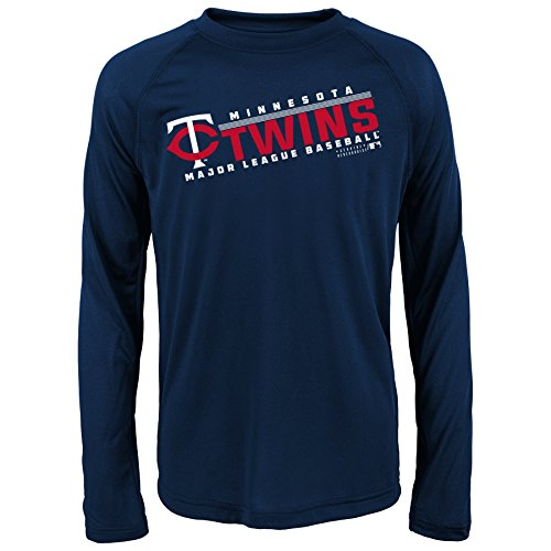 Sports Performance Long Sleeve - MLB Youth 8-20 Twins performance Long sleeve Tee, S(8), Athletic Navy