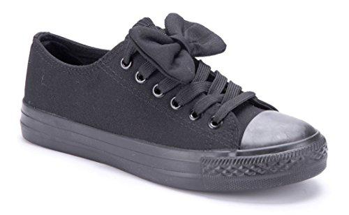 Schuhtempel24 Damen Schuhe Low Sneaker Flach Zierschleife Schwarz