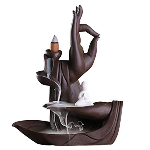 Clearance Sale!DEESEE(TM)Ceramic Purple Sand Zen Buddha Hand Sandalwood Backflow Incense Burner Decor (A)