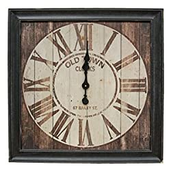 Large Vintage Old Town Clock, 28 Inches Square, Wood Framed