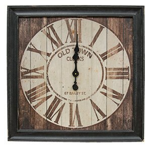 (Large Vintage Old Town Clock, 28 Inches Square, Wood Framed)