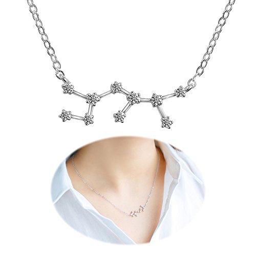 Horoscope Necklace Zodiac Pendant Constellation Charm Astrology Choker Collarbone Crystal Chain Jewelry Sagittarius