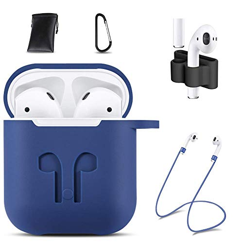 GIM AirPods Case Cover,7 in 1 AirPods Accessories Silicone Airpods Protective Cover Set with Clip Holder/Keychain/Strap/Earhooks/Soft Storage Bag for Apple Airpod (Luxury Blue)