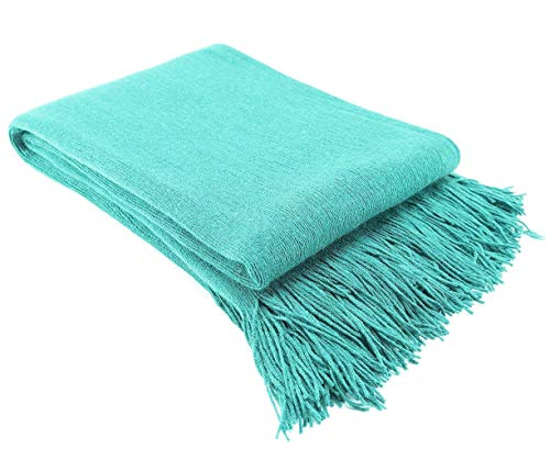 """LAGHCAT Solid Blanket Cross Woven Couch Throw Christmas Knitted Blankets with Decorative Fringe Lightweight for Bed or Sofa Decorative,51"""" x 67"""", Light Aqua"""