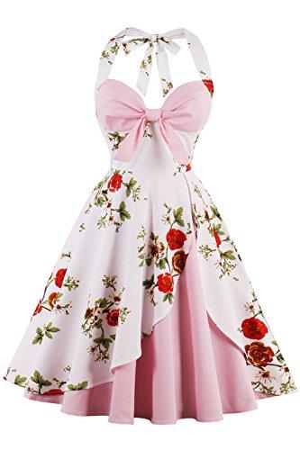 95b6db5bc5 Axoe Damen Neckholder 50er Jahre Vintage Abendkleid Pinup Retro Rockabilly  Kleid Schulterfrei Partykleid Cocktailkleider Rosa T1nrfCeb