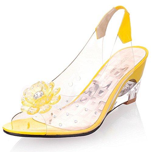 Women's Shoes Wedge Sandals on Heel Yellow Sweet Toe SaraIris Decoration Summer Slip Flower Peep HIgh Tq1Wdw
