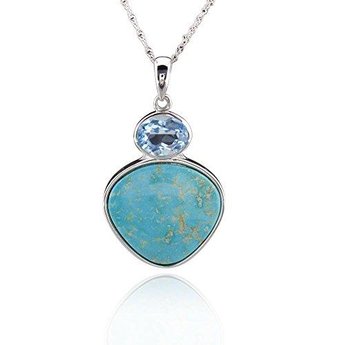 GemsChest Sterling Silver Trillion Shaped Turquoise & Blue Topaz Pendant Necklace 18