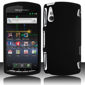 Black Hard Plastic Rubberized Case Cover for Sony Ericsson Xperia Play (Sony Ericsson Case Phone)
