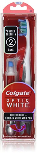 Colgate Optic White Toothbrush Plus Whitening Pen, Compact Head Medium (Whitening Pen For Teeth)