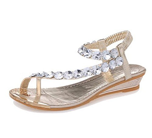 Et Orthopedique Eté Chaussures Piscine Sandale D'été Strass Bohême Plage Palet Chaussures de Bijou Tong Perle wealsex Or Argent Glissement Compensées Or Plate Femme Sandales wfTTIUqA
