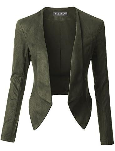 LE3NO Womens Lightweight Faux Suede Open Front Cropped Blazer Jacket - Faux Suede Blazer